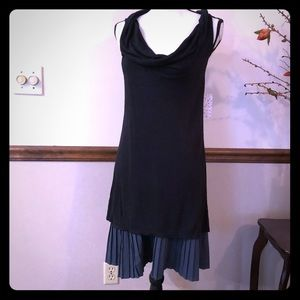FREE PEOPLE black dress with pleated bottom NWT
